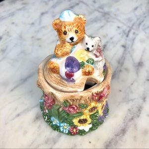 Vintage 1996 Bear Floral Keepsake Jar Trinket Box